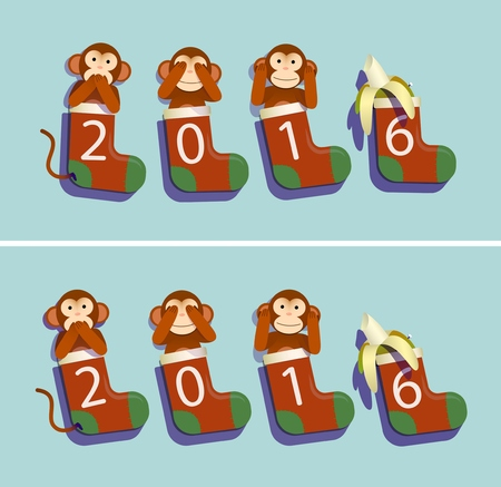 calcetas: calcetines, monos y del pl�tano de 2016 ca�ticas y pulcramente variantes de composici�n Vectores