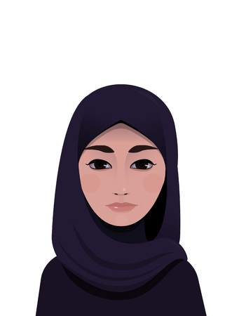 fashion girl style: Portrait of muslim beautiful woman in violet hijab
