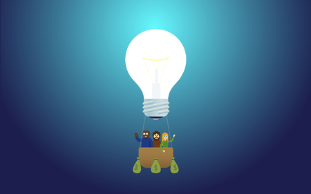 concepts and ideas: idea lightbulb lamp - balloon or aerostat startup team