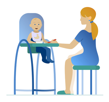 highchair: mother feeding a young child in highchair with a spoon