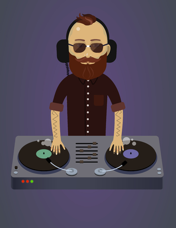 mixing console: Dance party, hipster bearded DJ with scratch console, vinyl record mixing Illustration