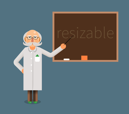 scientist or a doctor professor shows on the chalkboard formulas or a text or stats Illustration