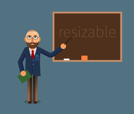 illustration of a teacher or economist and chalkboard