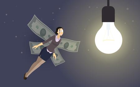 investor: funny concept metaphor - business-woman investor with money-wings flying to the lightbulb of startup idea