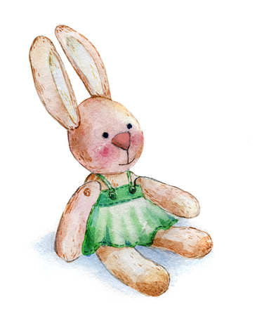 aquarelle: rabbit girl plush toy watercolor aquarelle paper