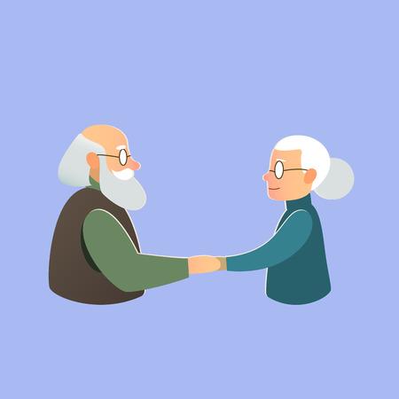 persona feliz: Postal de los saludos - antigua familia, pareja de ancianos en el amor, la fecha de la boda o celebrar el Día de San Valentín