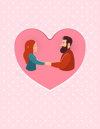 young couple kiss: ValentineS Day. Lovely man and woman. greeting card illustration