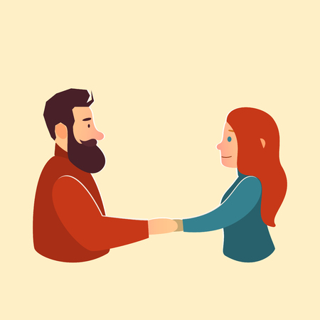romantic date: ValentineS Day. Lovely man and woman. greeting card illustration