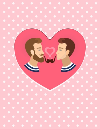 homosexuals: Valentines greeting card gay homosexuals Couple illustration polka dots