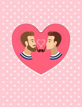 bald woman: Valentines greeting card gay homosexuals Couple illustration polka dots