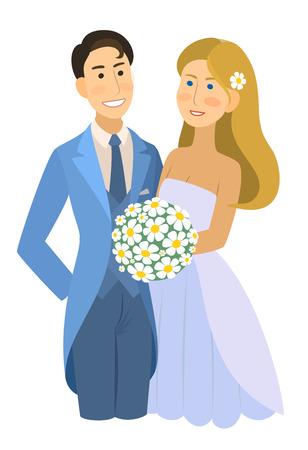 newlyweds: newlyweds - wedding, bride and groom, engaged couple, Wedding Party vector illustration.