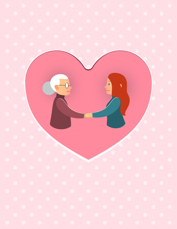 grandparents: mothers Day daughter or granddaughter with mother grandmother March 8 postcard Illustration
