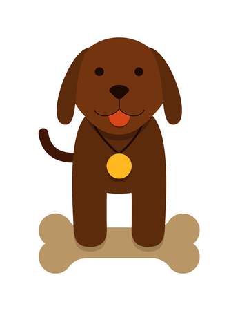 brown puppy dog with bone and with a medal - flat cartoon