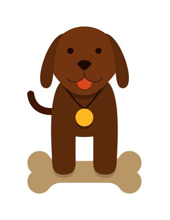 perro caricatura: cachorro de perro marrón con hueso y con una medalla - de dibujos animados plana