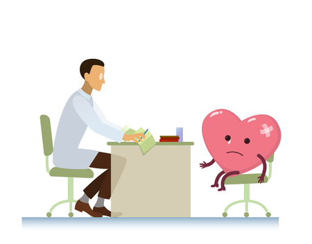 doctor who: diseased heart on consultation with a doctor cardiologist, who read cardiogram - cartoon stylization symbol - World Health Day