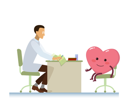 doctor who: healthy cheerful heart on consultation with a doctor cardiologist, who read cardiogram - cartoon stylization symbol - World Health Day