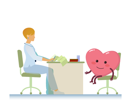 doctor who: healthy cheerful heart on consultation with a doctor woman cardiologist, who read cardiogram - cartoon stylization symbol - World Health Day