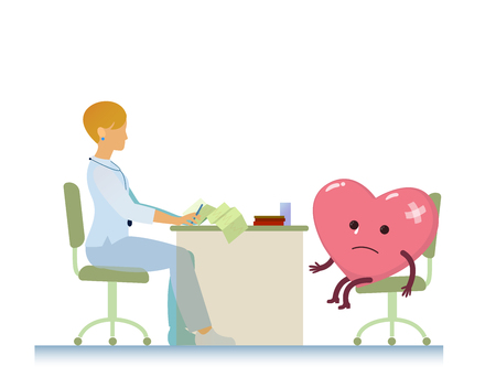 doctor who: diseased heart on consultation with a doctor woman cardiologist, who read cardiogram - cartoon  stylization symbol - World Health Day