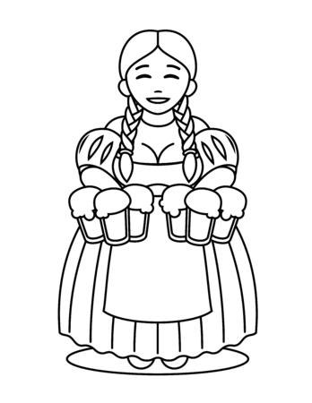 tavern: cute cartoon blonde girl in traditional dress with beer mugs. Oktoberfest or St.Patrick s Day. Tavern, pub, bar, festival.