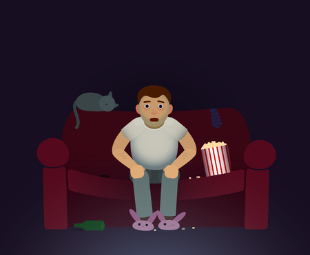 viewer: vector illustration of sport fan or a viewer who watching the TV-show, movie or sport match, eating popcorn Illustration