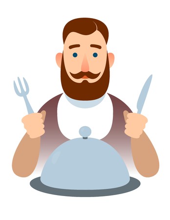 man with dome dish delicacy food. gourmet restaurateur or hipster