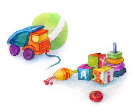 molinete: coche de juguete del carro para el muchacho, juguetes, perinola, la bola y cubos con letras, acuarela aislado