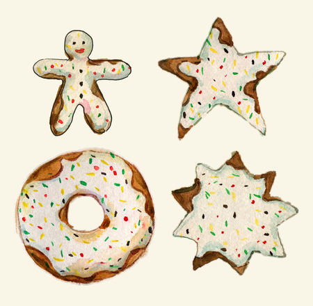 gingerbread cake: Set of cakes collection. Birthday cake, cake star, gingerbread cookie, chocolate donut. collection of watercolor aquarelle illustration - Stock Photo