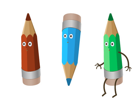 babyish: a colored three crazy funny cartoon pencils - red crayon, green and blue. isolated on white Illustration