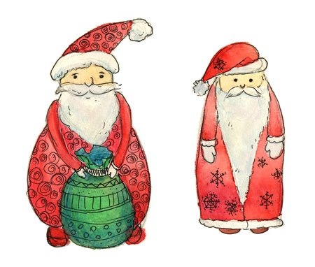 santas sack: Set of Santa Clause. Funny Santa. New Year Greeting Card. Christmas watercolor background. Cartoon Santa watercolor illustration. Delivery of New Year gifts. Santas Sack. Christmas Delivery Service - work clipping path Stock Photo