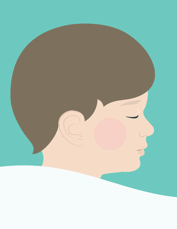 child sleeping: a realistic boy child sleeping on pillow facial profile illustration eps Illustration