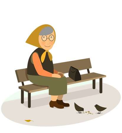 bench alone: CIS grandmother elderly old woman sitting on a bench feeding pigeons with bread crumbs in the park flat illustration isolated on white background CIS wear style.