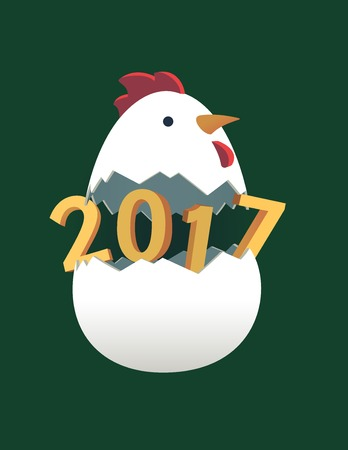 Rooster 2017 Chinese New Year flat 3d greeting card. New Year background. Rooster beautiful colorful and bright. Celebration with Rooster, place for your text. Christmas background. Happy New Year 2017 card. Illustration