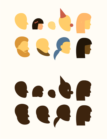 set - silhouette of head - people, withe and black female, male, muslim, beard and mustache, bald and undercut hairstyles, girl, boy, clown, teen, baby, logo, sign on the door of a public toilet, head profile - flat avatars isolated on white Stock Photo