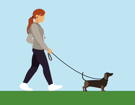 girl with dog walking Illustration