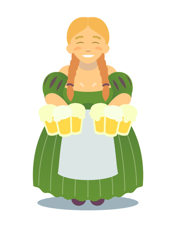 logo - cute blonde girl in traditional dress with beer mugs. Oktoberfest or St.Patrick s Day. Tavern, pub, bar, festival. flat design
