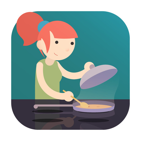 a girl cooking food on Induction Cooktop with pan. a logo icon flat cartoon design Illustration