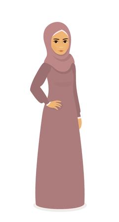 young asian girl: muslim beautiful girl woman in hijab - Full-length standing Portrait, vector illustration flat