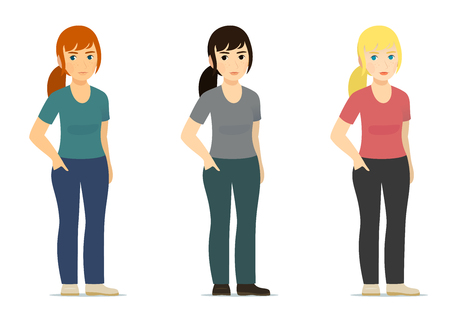 Set - smiling cute white woman, girl in different color of clothes and hair - red, blonde, brown with hand in jeans pocket, standing isolated on white background - Full-length standing Portrait, vector illustration, flat Stock Photo