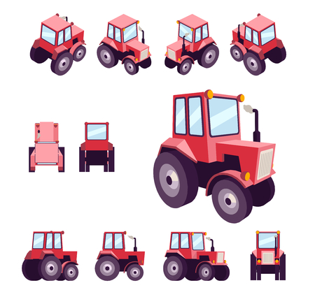 Red farm tractor, from different angles. Vehicle template vector isolated on white. View front, rear, side, top, isometric, back, 3D perspective, low poly flat style. Çizim