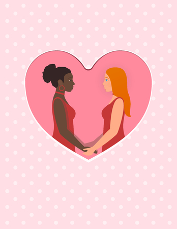 Happy valentines day February 14th greeting card. Afro american girl and white redhead girl, a lesbian multiracial gay couple in love. Holding hands and looking into each others eyes.