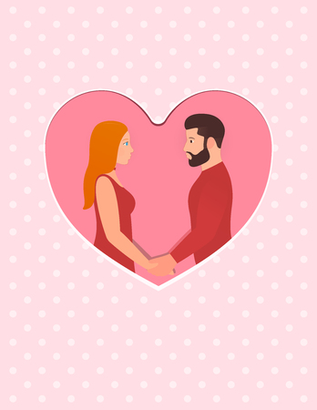 Greeting card for Happy Valentines day February 14th. Bearded man and beautiful redhead woman, couple in love. Holding hands, looking into each others eyes. Design template for wedding or anniversary.
