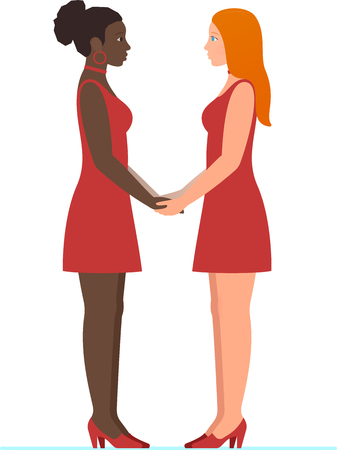 Happy Valentine's day February 14th. Afro American girl and white redhead girl, a lesbian multiracial couple in love, holding hands and looking into each others eyes, in full growth standing flat design.