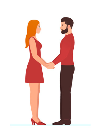 Happy Valentines day, February 14th. Bearded man and beautiful redhead woman, couple in love, holding hands, looking into each others eyes, in full growth standing. Template for wedding or anniversary.