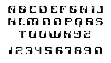English font upper case letters. Logo - human faces of cyborg robots, for computer theme, science etc, retro style. Illusztráció