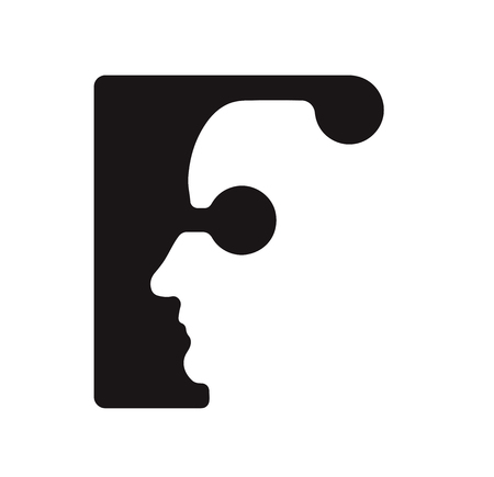 English font upper case letter F f Logo logotype - human faces of cyborg robots, for computer theme, science etc, retro style.