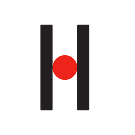 H h Logo logotype - English font upper case letter - latin modern bold font alphabet, upper case letters and numbers. Vector, two colors - red and black