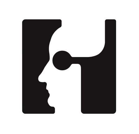 H h Logo logotype - English font upper case letter - human faces of cyborg robots, for computer theme, science etc, retro style