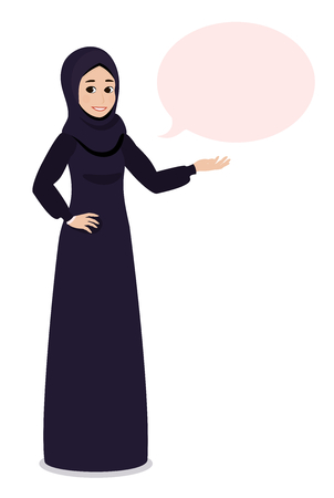 Arab Muslim girl in hijab veil points at something or presenting with her hand.