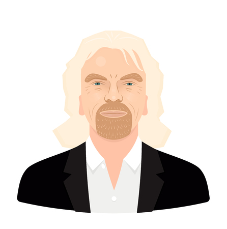 May, 2018. Sir Richard Branson - the famous entrepreneur and founder, richest businessman. Vector flat portrait isolated on a white background. Stock Illustratie
