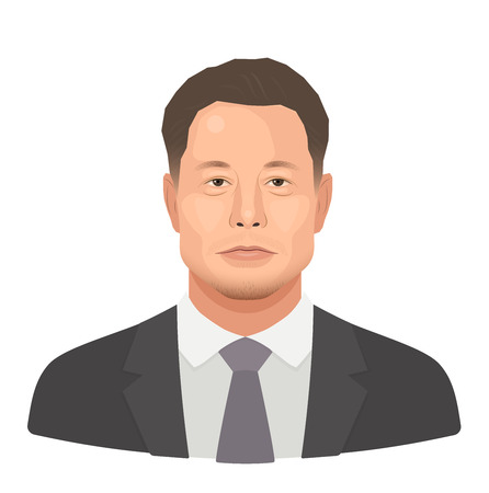 May, 2018. Elon Reeve Musk - the famous entrepreneur and founder, richest businessman. Vector flat portrait isolated on a white background.